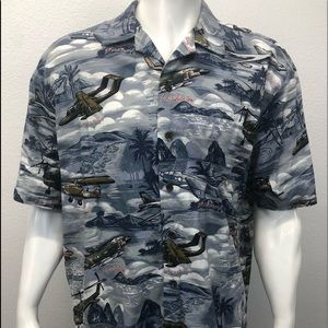 Kalaheo Military Airplanes & Helicopters Shirt XL
